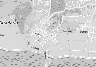 Kaartweergave van Milieustraat in Nes Gemeente Ameland Friesland